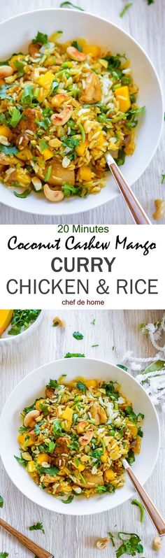 One Pot Coconut Cashew Mango Curry Chicken and Rice | http://chefdehome.com