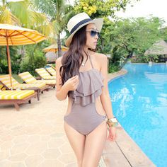 Online Shop Spa Nylon 1 one piece sexy swimwear women's small bust M L XL RUFFLES triangle swimsuit backless bathing swimming suits forwoman Aliexpress Mobile
