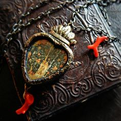 Unicorn Heart    Coral Amulet  Sacred Heart by ParrishRelics