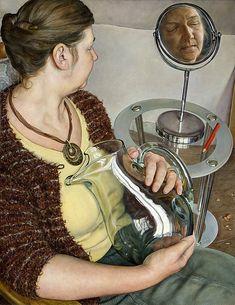 """Woman Cradling Glass Vessel"" - Michael Taylor (British, b. 1952), oil on canvas, 2010 {contemporary figurative art woman portrait profile painting} Reposed !!"