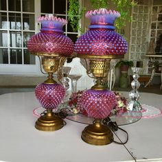 Pair Fenton Cranberry Opalescent Hobnail Table Lamps, by NewLife4OldTreasures on Etsy https://www.etsy.com/au/listing/270713634/pair-fenton-cranberry-opalescent-hobnail