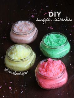 #DIY Sugar Scrubs - Jojoba and Coconut oil are great for nourishing the skin while you exfoliate! Makes a
