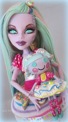 Birthday Ghoul: A custom Monster High Operetta and mini Lalaloopsy.