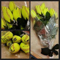 Softball Roses made from real softballs!