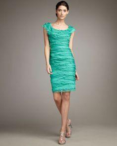 For wedding? Tadashi Shoji Tiered Cap-Sleeve Dress - Neiman Marcus $245
