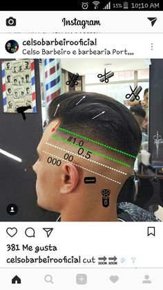 BarberCortes Popular Mens Hairstyles, Cool Hairstyles For Men, Hairstyles Haircuts, Haircuts For Teenagers, Haircuts For Men, Mens Clipper Cuts, Hair Cutting Techniques, Barber Haircuts, Faded Hair