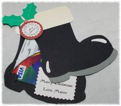 Santa boot gift card holder.