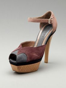 Marni Suede High Heel Peep-Toe Pump