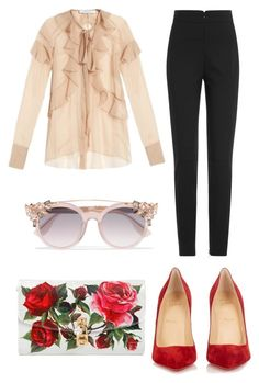 """""""Untitled #1120"""" by filipaloves ❤ liked on Polyvore featuring Givenchy, Alexander McQueen, Jimmy Choo, Christian Louboutin and Dolce&Gabbana"""