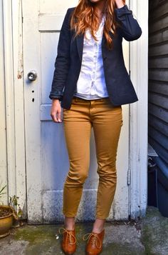 Mustard pants with navy blazer.