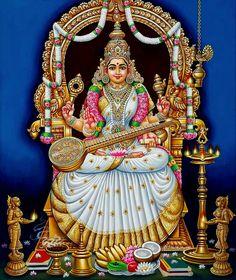 Saraswati Goddess, Shiva Shakti, Baby Krishna, Krishna Art, Devi Images Hd, Saraswathi Devi, Mysore Painting, Indian Temple Architecture, Indian Goddess