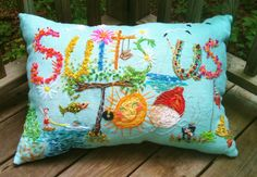 """randomly stitch crazy letters, with my Vintage WOOL Yarn on my fav burlap pillow! Lake Living  This big pillow measures about 15"""" x 25"""", and is stuffed with new polyfill!"""