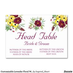 Customizable Lavender Floral WEDDING TABLE CARD