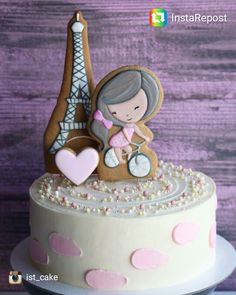 Buttercream Cake, Fondant Cakes, Cupcake Cakes, Paris Birthday Cakes, Cool Birthday Cakes, Girly Cakes, Cute Cakes, Parisian Cake, Cookie Cake Designs