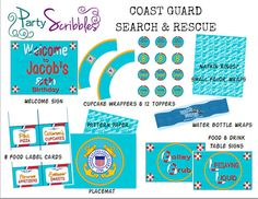Coast Guard Search & Rescue Party Package Digital You Print