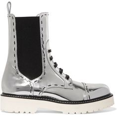 Shop Dolce & Gabbana Woman Metallic Leather Boots Silver from stores. White rubber heel measures approximately 1 inch- Silver leather- Pull on- Made in Italy White Leather Boots, Silver Boots, Metallic Boots, White Boots, Metallic Leather, Real Leather, Leather Shoes, White Slip On Shoes, Slip On Boots