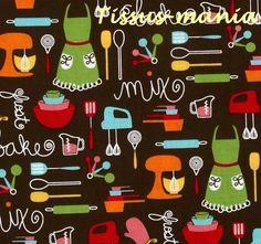 Tissu patchwork   cuisine everything nice Kaufman marron