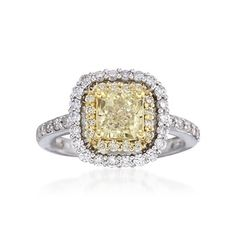 2.28 ct. t.w. Fancy Yellow and White Diamond Ring in 18kt Two-Tone Gold