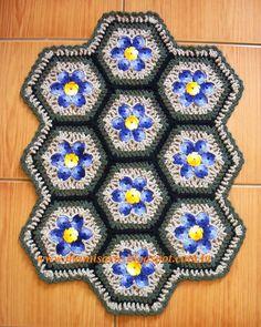 """Crochet et Tricot da Mamis: Tapete em Crochet """" Hexágonos com Flores""""- Gráfico"""