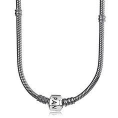 PANDORA Charm-Halskette, oxidiertes Sterling Silber