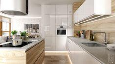 Wstępny pomysł na kuchnię: biała kuchnia mat, szary kamienny blat, drewniane dodatki.