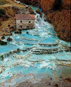 Mill waterfalls in Saturnia, Tuscany, Italy #italytravel  #TravelDestinations