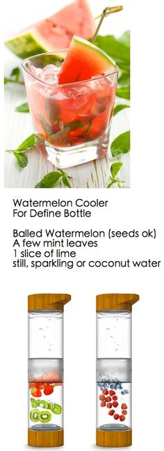 Watermelon fruit infused water recipe to be made in the Define Bottle and take on the go!