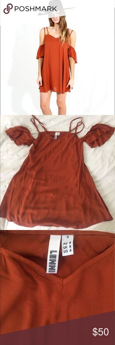Lenni the Label mini rust colored dress Brand new rust colored sundress, only worn once for a shoot. No tags. Size small / 4 but fits like a size 2. Lenni the Label but tagged Reformation for exposure. Reformation Dresses Mini