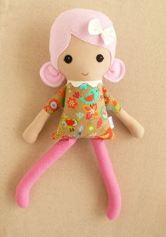 Fabric Doll Rag Doll Pink Haired Girl in Brown and by rovingovine