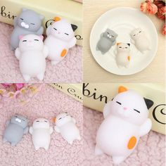 Kawaii Japan Mochi Lazy Cat Mini Decompress Squishy Squeeze Soft Slow Rising Funny Kids Children Toys Gift Phone Strap