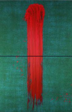 Image_2_original : Fabienne Verdier, L'un, 2012, Diptyque vertical, Pigment et encre sur toile, 227 x 150 cm.