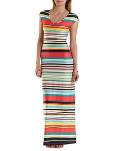 Cap Sleeve Striped Maxi Dress: Charlotte Russe
