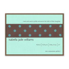 Elation - Iridescent teal and brown birth announcement with polka-dot ribbon.