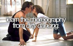 "Learn the choreography from dirty dancing.  Well, not exactly like the video, but a mambo dance routine to ""Time of My Life""!"