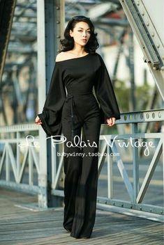 Siamese Sleeve Black Jumpsuit - Le Palais Vintage