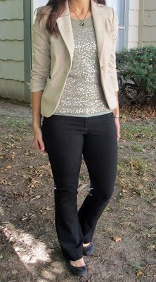 work outfit :: sequin top, neutral blazer, black pants