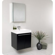 Senza Single Alto Modern Bathroom Vanity Set with Mirror - Badezimmer Amaturen Wall Hung Bathroom Vanities, Vanity Set With Mirror, Single Sink Bathroom Vanity, Bathroom Fixtures, Small Bathroom, Wood Vanity, Bathroom Black, Bathroom Things, Boho Bathroom