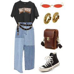 Untitled #1980 by lucyshenton on Polyvore featuring Harley-Davidson, Ksubi, Converse, Chanel and Gentle Monster