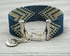 Loom beaded bracelet made with denim and silver by LaddertotheSky