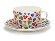 Contemporary Dunoon Warm Hearts Breakfast Cup and Saucer Set - Heart Teacup - Valentine Teacup - English Bone China Teacup Tea Cup