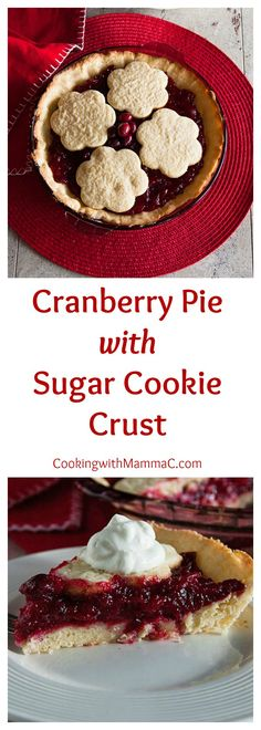 This Cranberry Pie with Sugar Cookie Crust is the holiday pie of my dreams! It's so delicious served with whipped cream or vanilla ice cream.