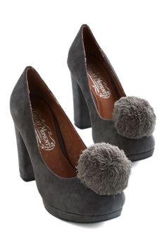 Pom, Cool, and Collected Heel. Strut confidently through even the busiest of days in these steel-grey, platform Merida pumps by Jeffrey Campbell. #grey #modcloth