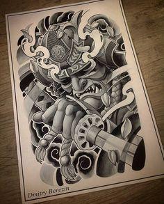 samurai helmet oriental tattoo design