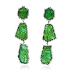 Royal India's emerald slice earrings, dramatic and modern for the May baby in your life!