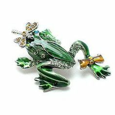 Yellow & Green Olivine Austrian Rhinestone Color Enemaled Frog & Dragonfly Silver-Tone Brooch Pin Fashion Jewelry. $11.95. Save 52%!
