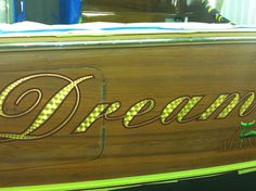 #TRANSOM: Dream Time, Manalapan #Boat #Transom #BoatTransom  TRANSOM #TECHNIQUE: #GoldLeaf #CustomGraphics    #BOAT #BUILDER #BoatBuilder: #BaylissBoatworks, #NorthCarolina