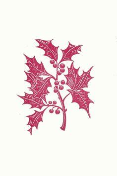 Holly Linocut Christmas Card // Handmade by InkshedPress on Etsy