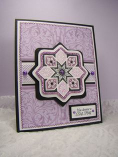 card using Scrolled Vine BG, Starburst Medallion Labels and Because I care designed by Angela Barkhouse
