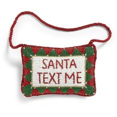 Sudha Pennathur Santa Text Me Doorknocker ($26) ❤ liked on Polyvore featuring home, home decor, holiday decorations, apparel & accessories, no color and sudha pennathur