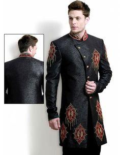 Buy Designer Motifs Indo Western Sherwani Online. http://www.bharatplaza.com/mens-wear/mens-indo-western.html
